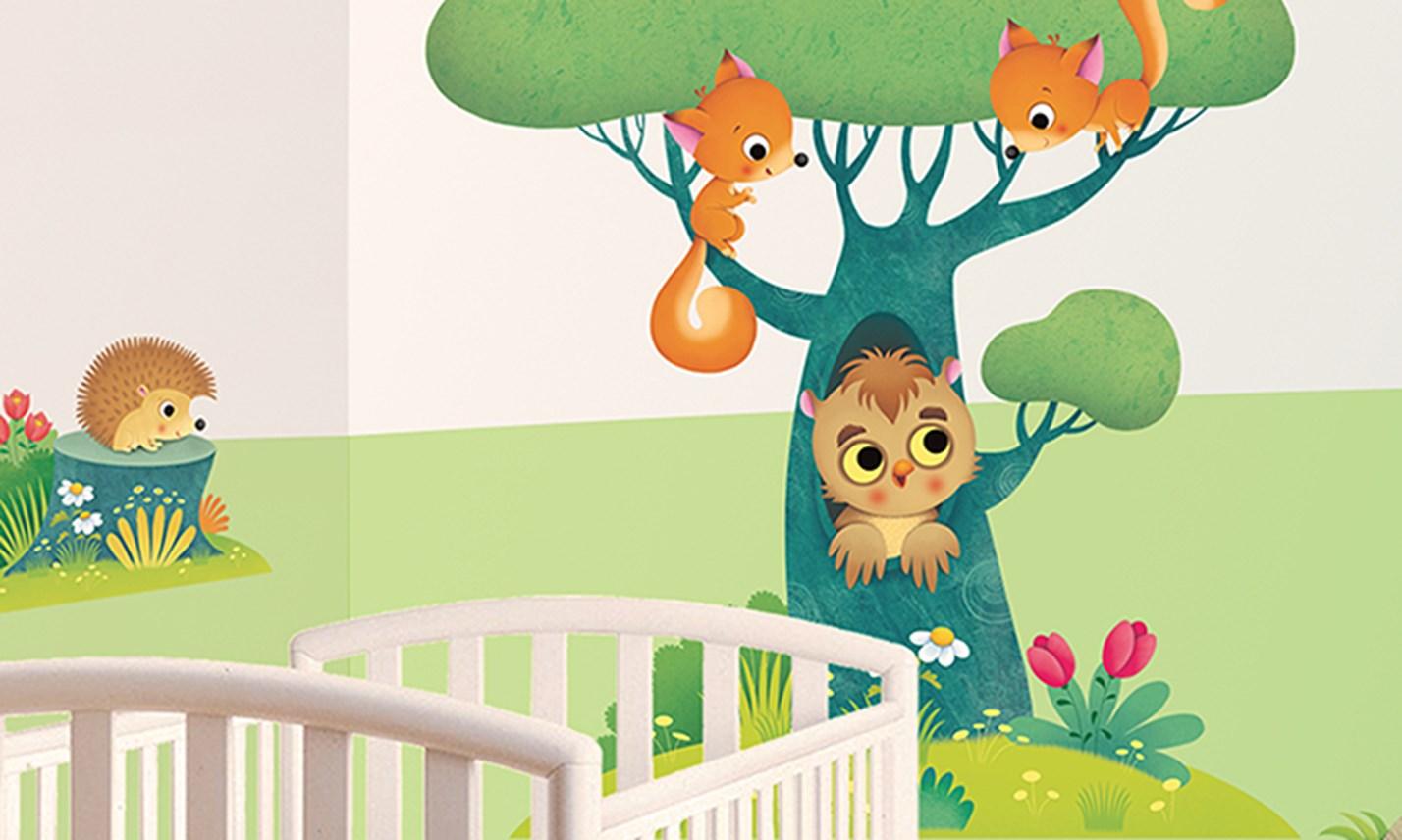 Stickers murali bambini cameretta gli amici della - Camerette gioco per bambini ...